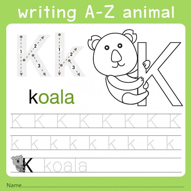 Illustrator van het schrijven van az dier k