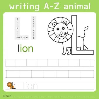 Illustrator van het schrijven van az dier l