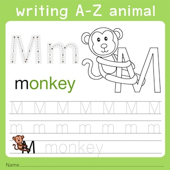 Illustrator van het schrijven van az dier m