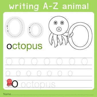 Illustrator van het schrijven van az dier o
