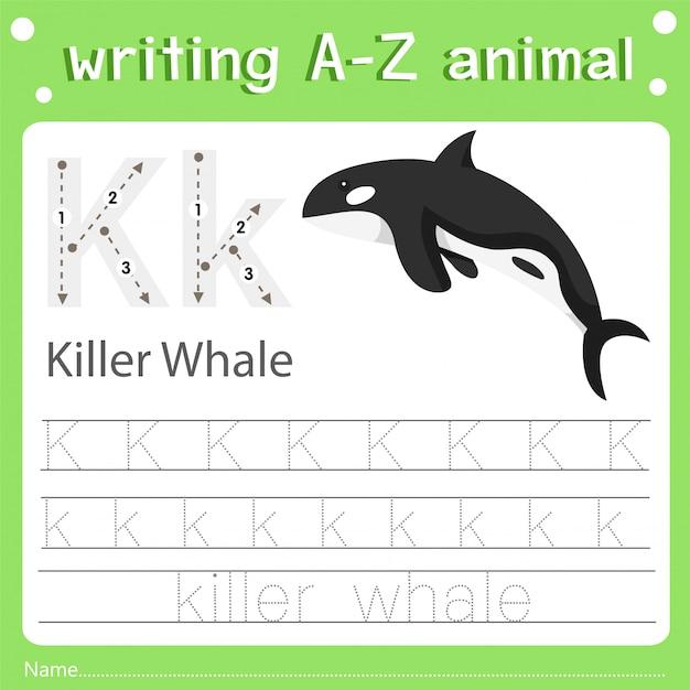 Illustrator van het schrijven van az dierlijke orka