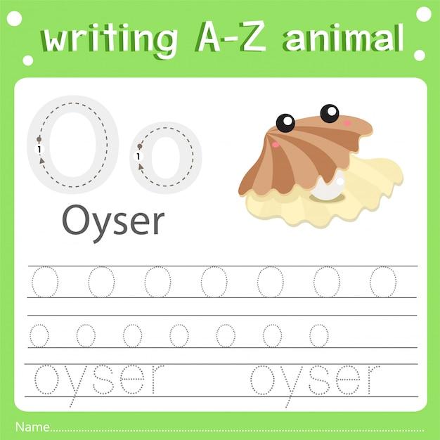 Illustrator van het schrijven van az dierlijke oyser