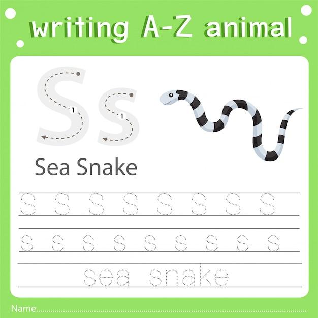 Illustrator van het schrijven van de overzeese slang van het az dier
