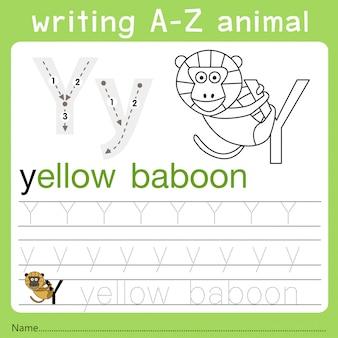 Illustrator van het schrijven van een dier a