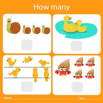 Illustrator van het tellen van hoeveel dieren
