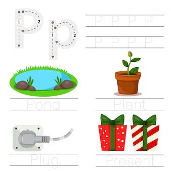 Illustrator van het werkblad voor het lettertype p van kinderen