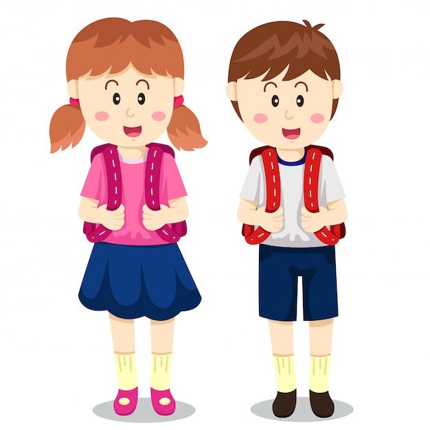 Illustrator van jongen en meisje terug naar school