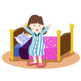 Illustrator van meisje wordt wakker