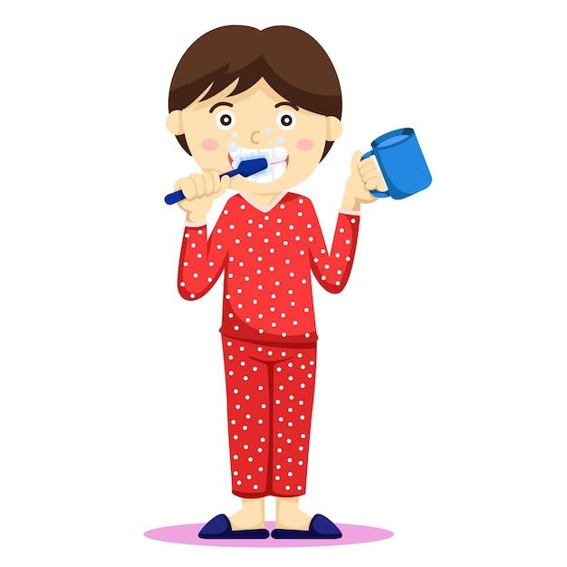 Illustrator van mijn jongen die zijn tanden poetst