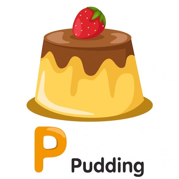 Illustrator van p-lettertype met pudding