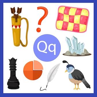 Illustrator van q alfabet voor kinderen
