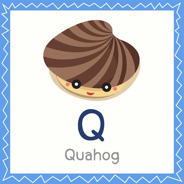 Illustrator van q voor quahog-dier