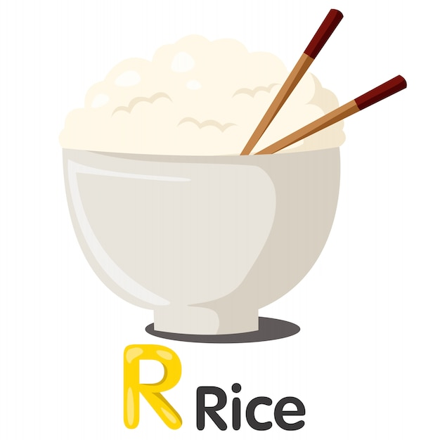 Illustrator van r-lettertype met rijst