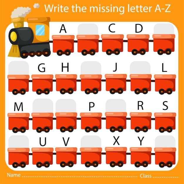 Illustrator van schrijf de ontbrekende letter az