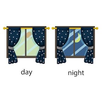Illustrator van tegenovergestelde dag en nacht