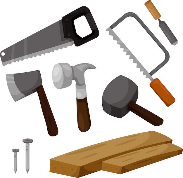 Illustrator van timmermans werkende hulpmiddelen