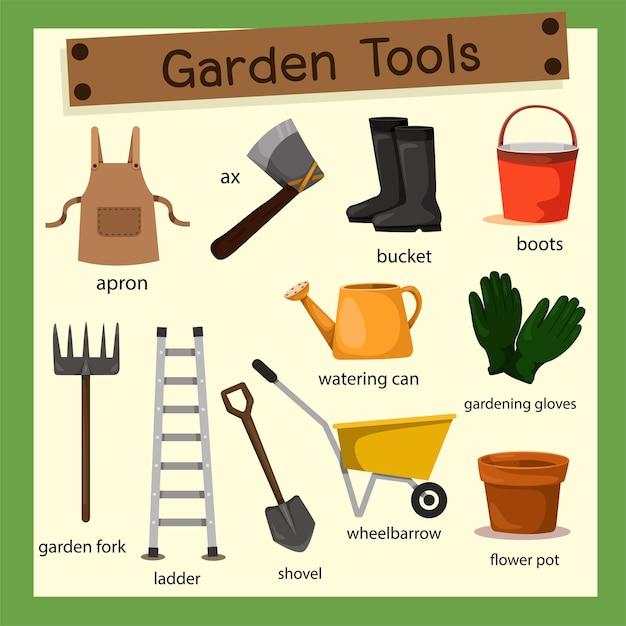 Illustrator van tuin tuingereedschap