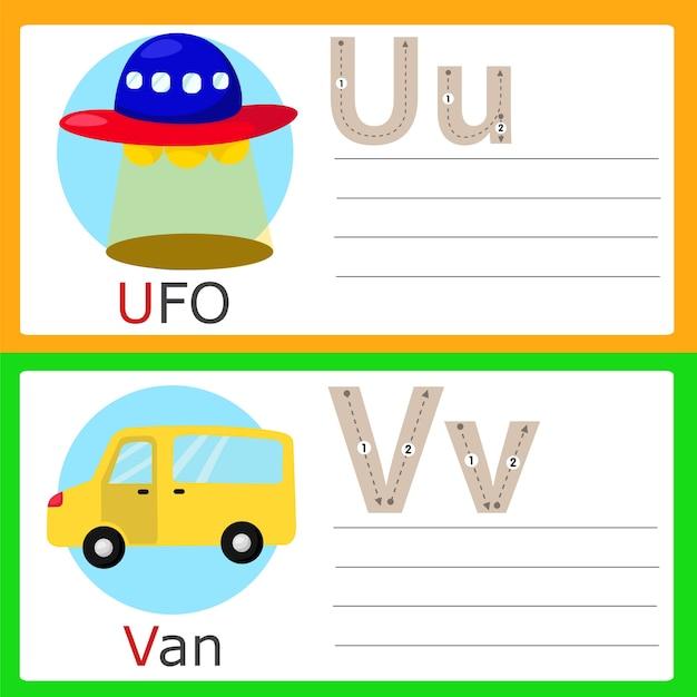 Illustrator van uv-oefeningen voor kinderen