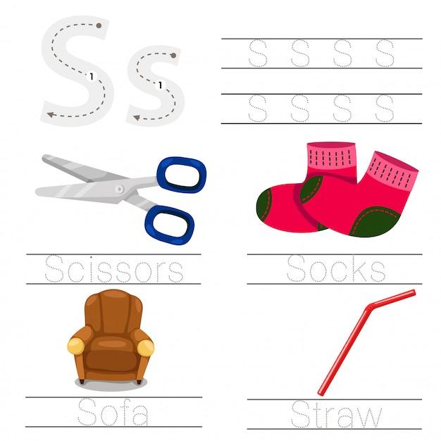 Illustrator van werkblad voor het lettertype van kinderen