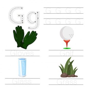Illustrator van werkblad voor kinderen g lettertype
