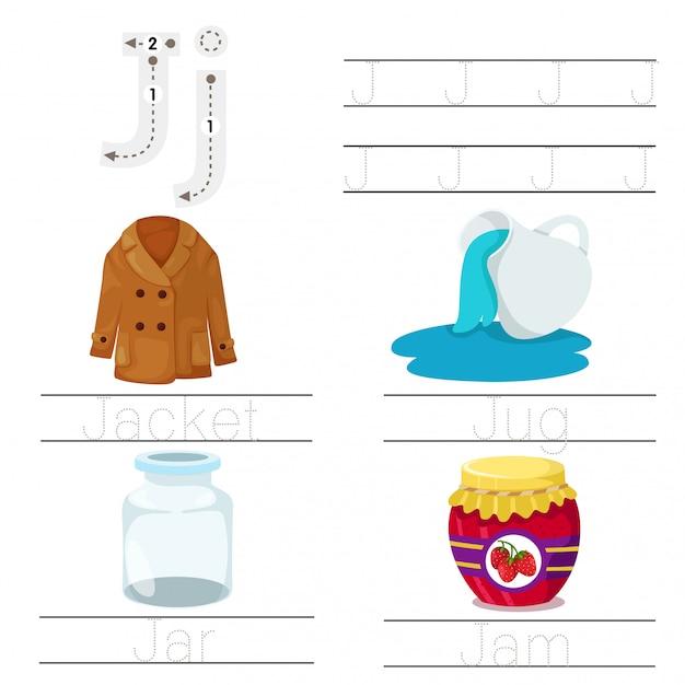 Illustrator van werkblad voor kinderen j lettertype