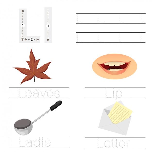 Illustrator van werkblad voor lettertype l voor kinderen