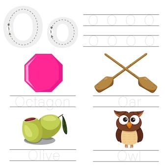 Illustrator van werkblad voor lettertype o