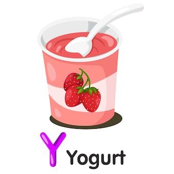 Illustrator van y-lettertype met yogurt