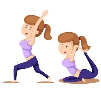 Illustrator van yoga set drie met meisjesoefeningen