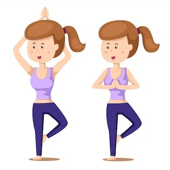 Illustrator van yoga set een met meisje oefeningen