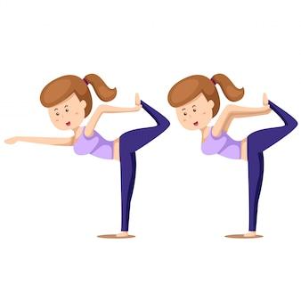 Illustrator van yoga set twee met meisjesoefeningen