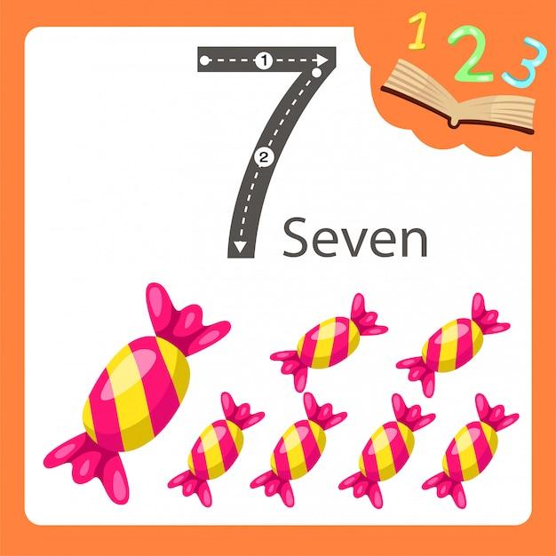 Illustrator van zeven nummer snoep