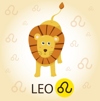 Illustrator van zodiac met leo