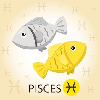 Illustrator van zodiac met vissen