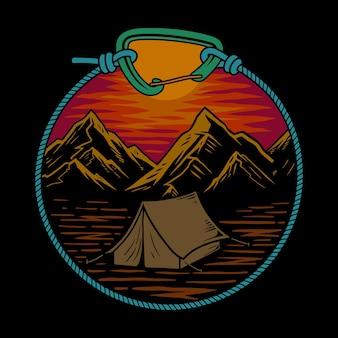 Illustrator zonsondergang mountain camp premium vector