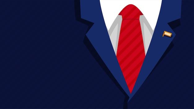 Illustratrion van mannelijk donkerblauw formeel presidentkostuum met rode stropdas en gouden vlagpictogramachtergrond