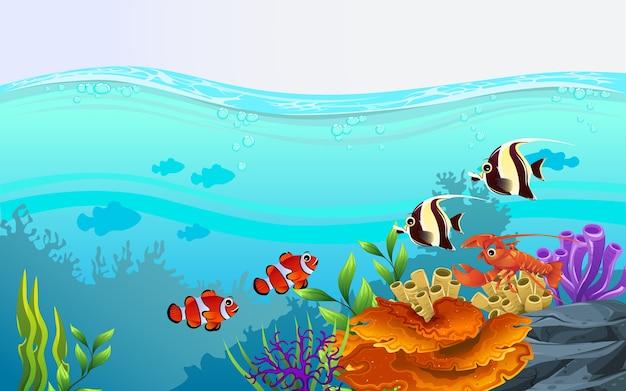 Illustreert de schoonheid van het mariene leven met een verscheidenheid aan verschillende habitats, koraalriffen en kleurrijke algen