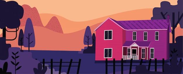 Illustrtaion van oud huislandschap