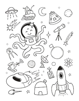 Ilustration buitenaardse doodle