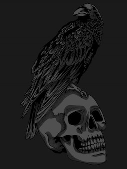 Ilustration en t-shirtontwerp kraai en schedel