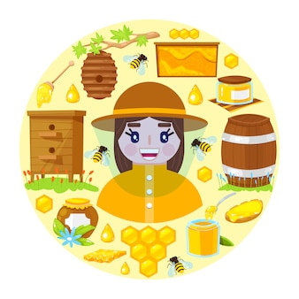 Imker en objecten van de bijenteelt