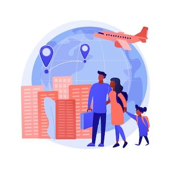 Immigratie abstract concept vectorillustratie. internationaal verkeer van mensen, verblijfsvergunning, werkvisum, instapcontrole, documenten ondertekenen, paspoort, groene kaart abstracte metafoor.