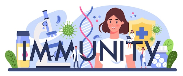Immuniteit typografische header.