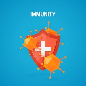 Immuniteitsconcept in beeldverhaalstijl, illustratie
