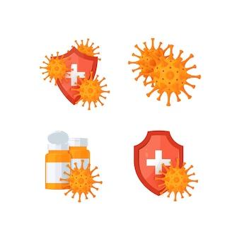 Immuniteitspictogrammen met schilden, virussen en medicijnflessen in beeldverhaalstijl.