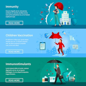 Immunity and vaccination banners set