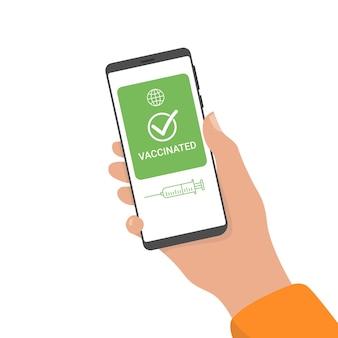 Immuun covid-19 resultaat op de aanvraag van een smartphone, digitaal vaccinpaspoort.