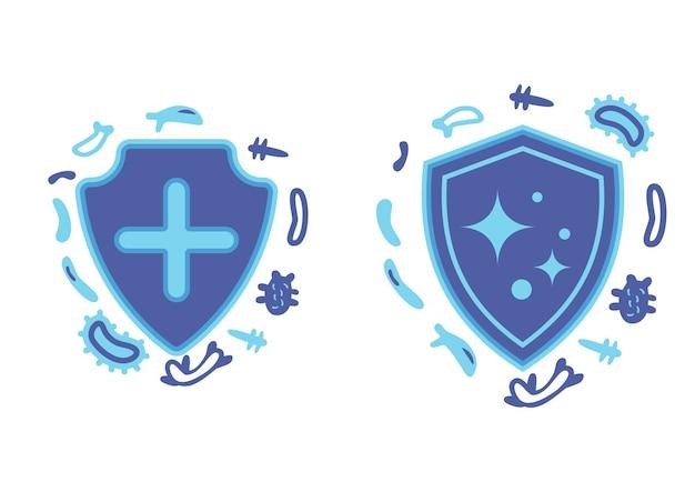 Immuunbescherming gezonde bacteriën virusbescherming verhoog de immuniteit met de illustratie van het geneeskundeconcept