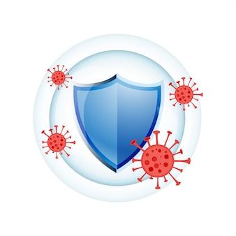 Immuunsysteem medische bescherming schild conceptontwerp