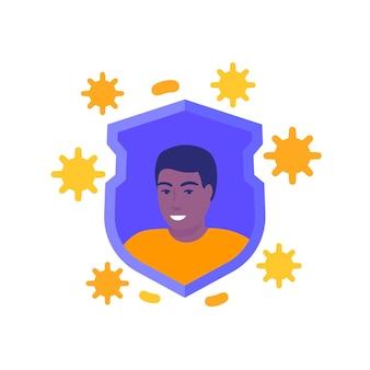 Immuunsysteem, sterke immuniteit en gezondheid, vectorillustratie met een man